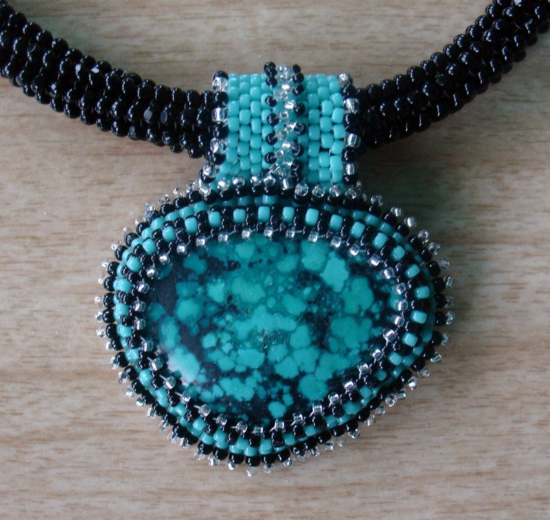 Beaded turquoise close